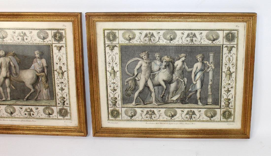 Pair of classical scene hand colored etchings - 3