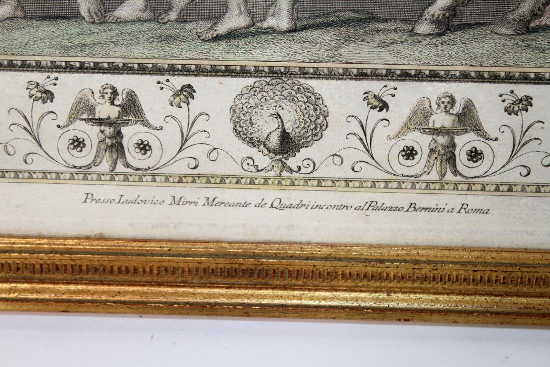 Pair of classical scene hand colored etchings - 6