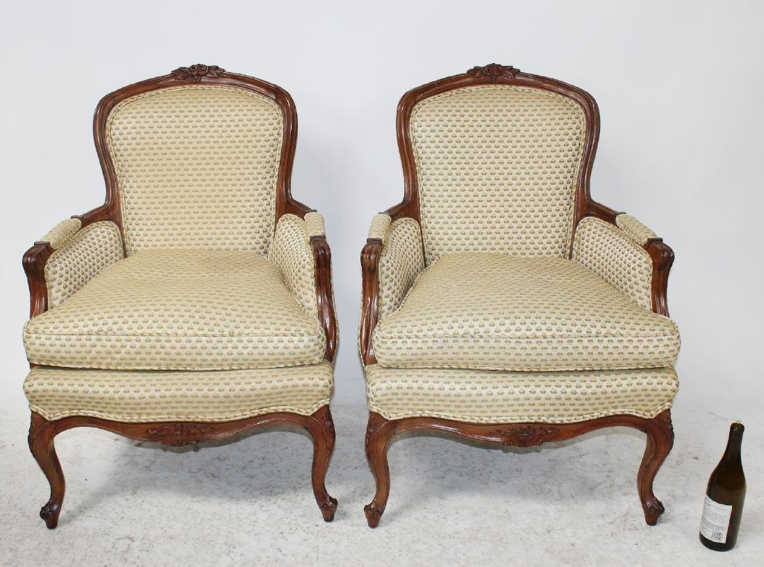 Pair of Louis XV style bergeres - 2