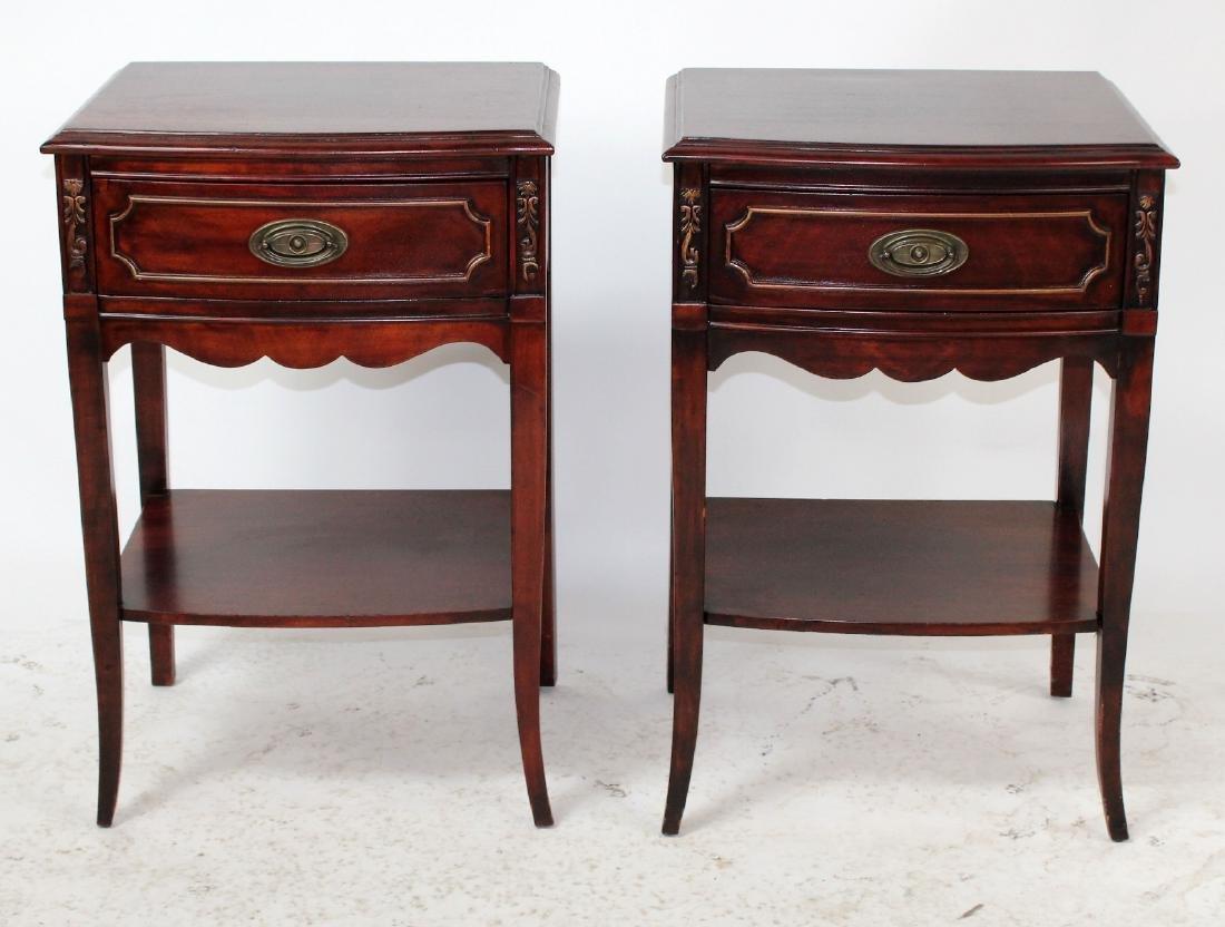 Pair American mahogany end tables
