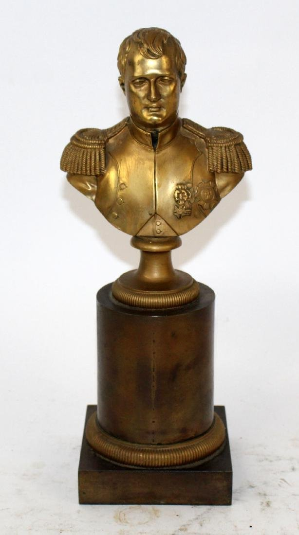 Bronze bust of Napoleon on brass column