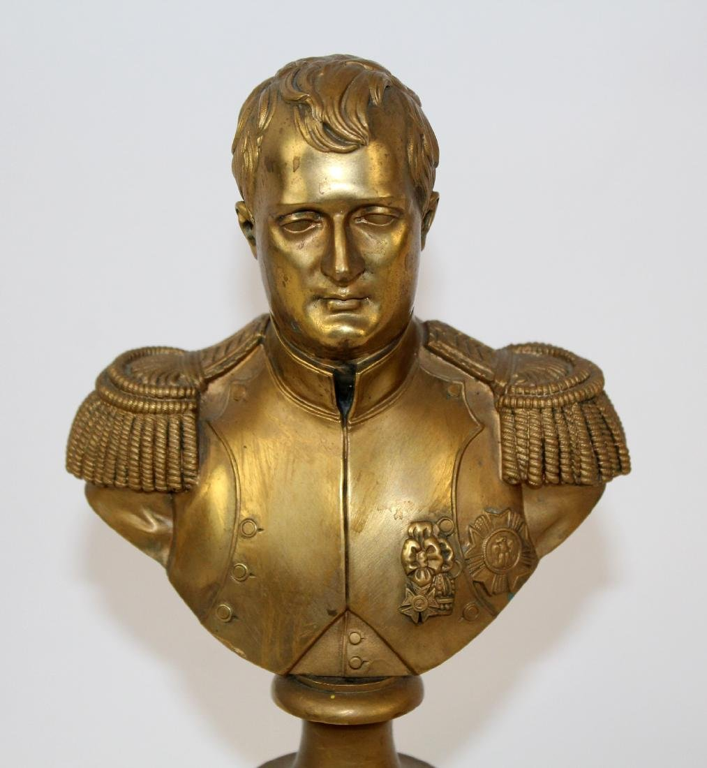 Bronze bust of Napoleon on brass column - 3