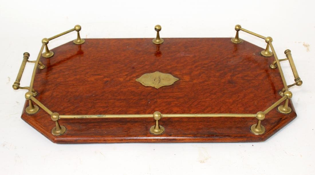 English oak butlers tray with brass gallery