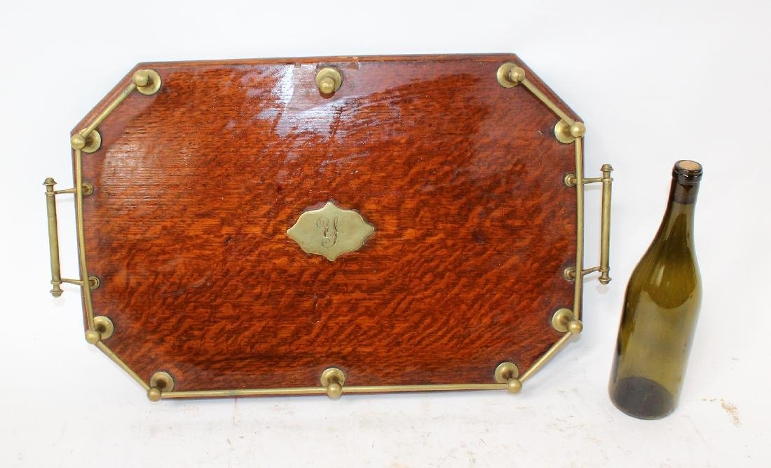English oak butlers tray with brass gallery - 2