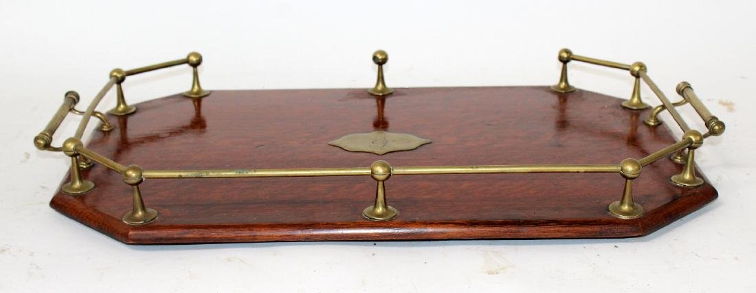 English oak butlers tray with brass gallery - 3