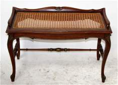 Louis XV style mahogany bench with cane seat