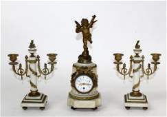 French Louis XVI 3pc marble  bronze clock set