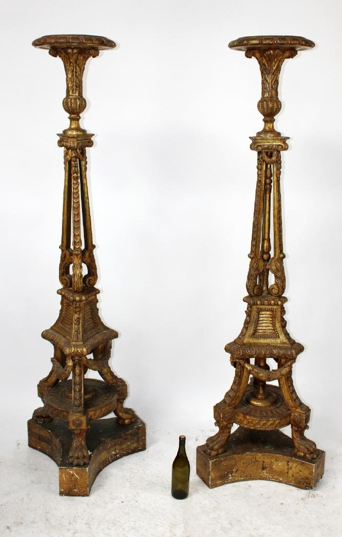 Pair of French Louis XVI giltwood plant stands - 2