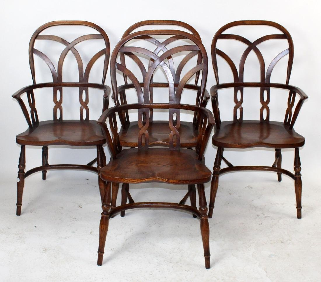 Set of 4 English Windsor armchairs by Fauld - 3