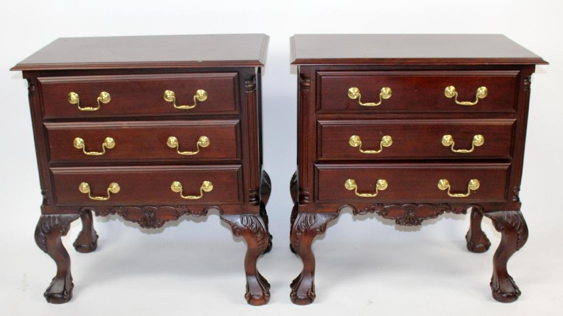 Pair of mahogany 3 drawer chests