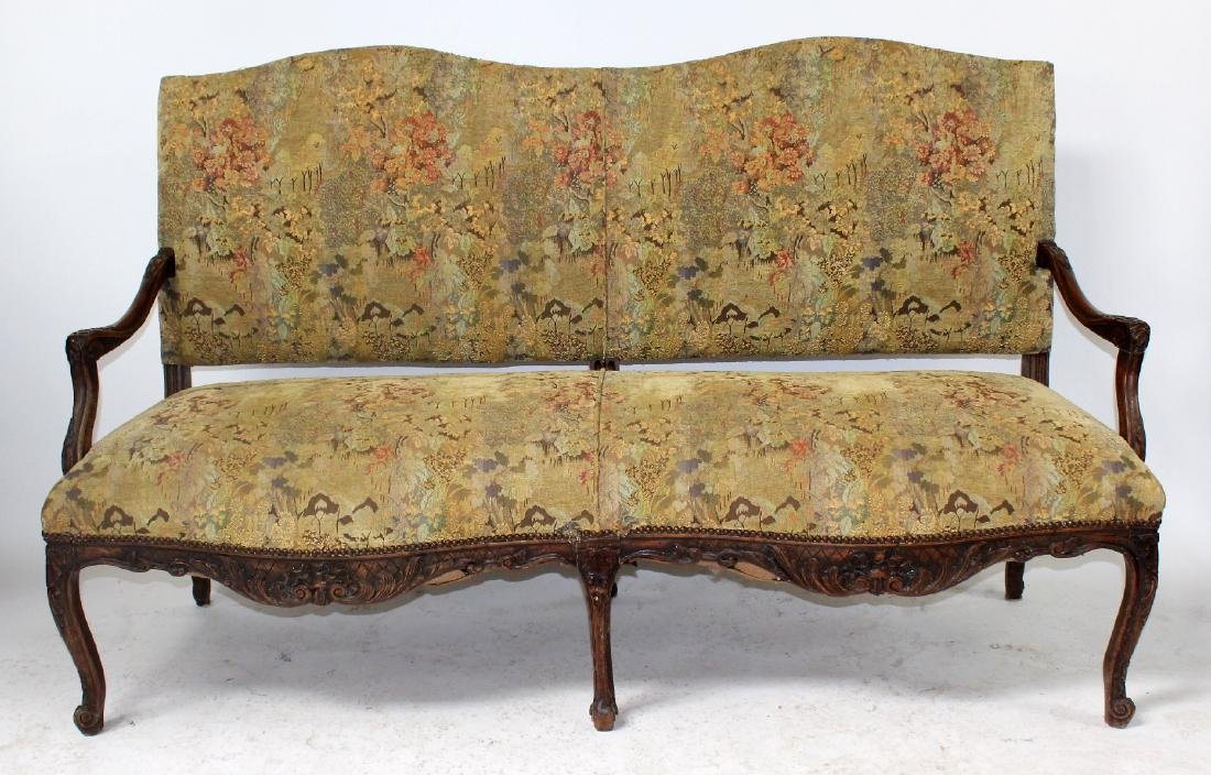 French Louis XV style carved walnut settee
