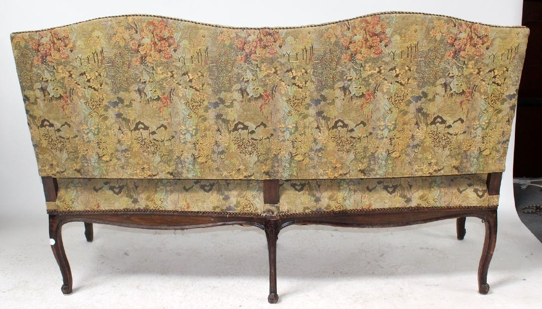 French Louis XV style carved walnut settee - 2