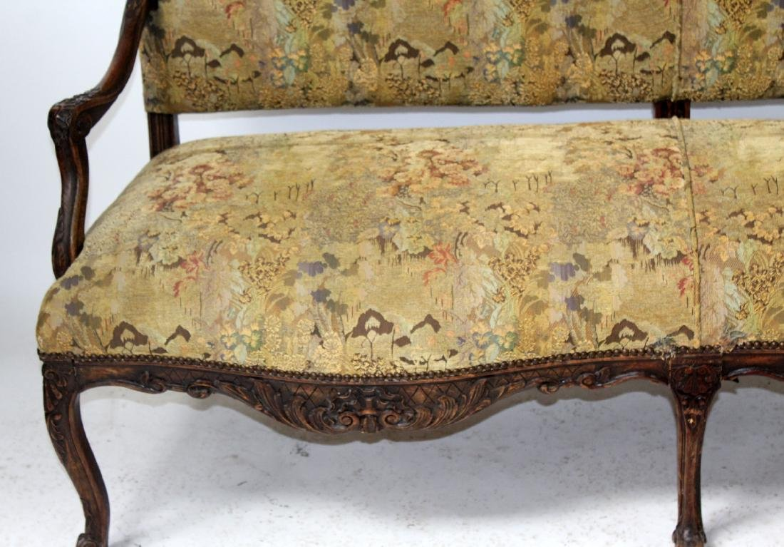 French Louis XV style carved walnut settee - 4