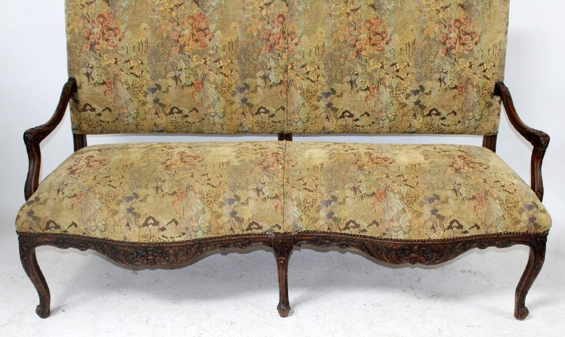 French Louis XV style carved walnut settee - 5