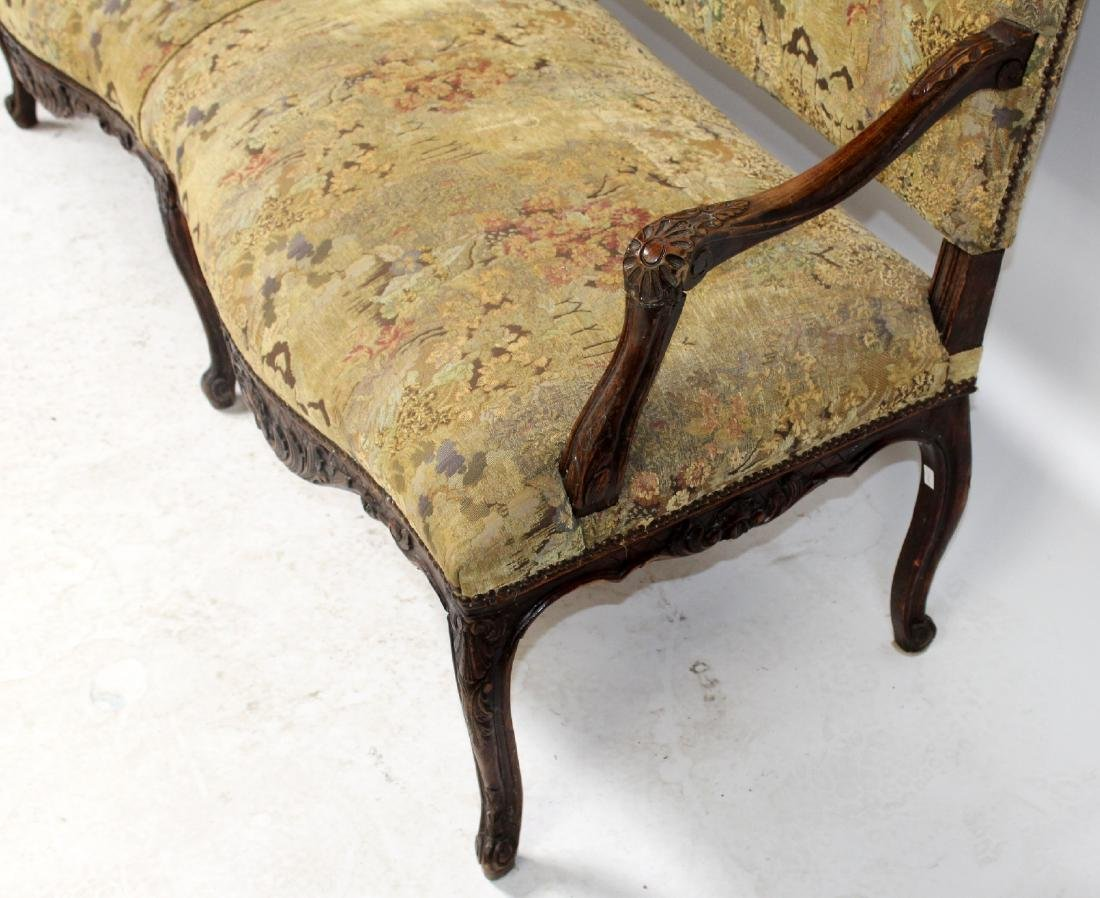 French Louis XV style carved walnut settee - 6