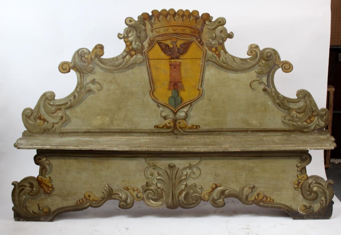 Italian Baroque polychrome Cassapanca bench