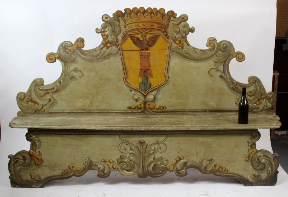 Italian Baroque polychrome Cassapanca bench - 7