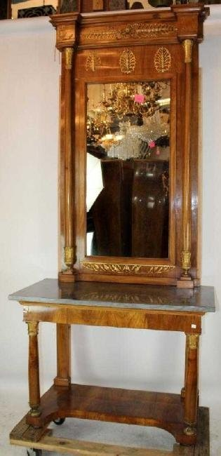 French Empire console with pier mirror