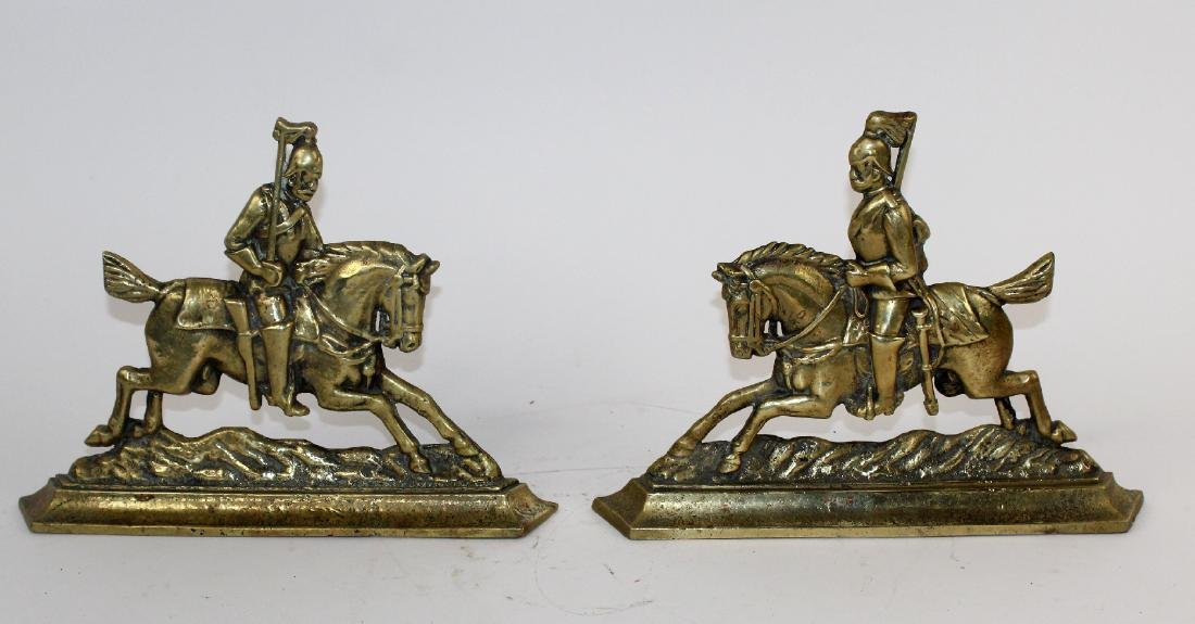 Pair of brass book ends with British Soldiers
