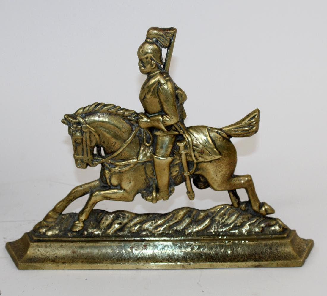 Pair of brass book ends with British Soldiers - 3