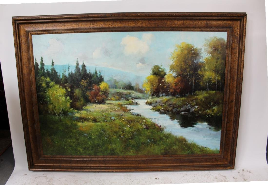 Grand scale oil on canvas landscape