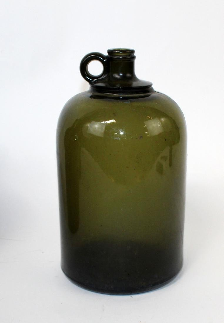 Lot of 3 green & amber glass demi john bottles - 2