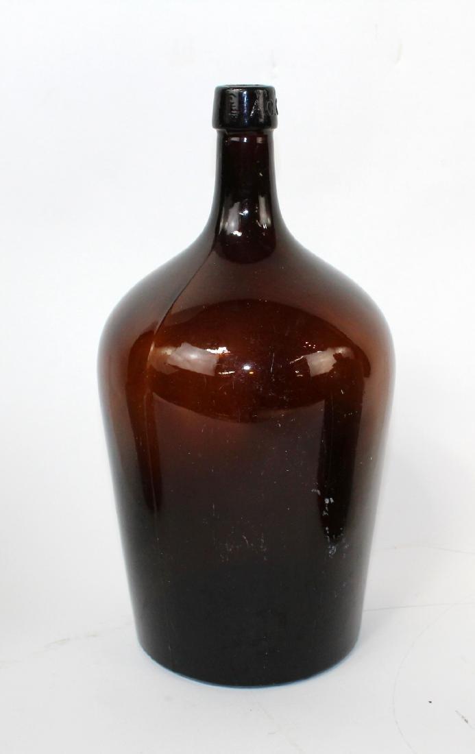Lot of 3 green & amber glass demi john bottles - 5
