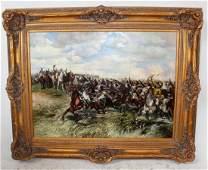 Oil on canvas battle scene