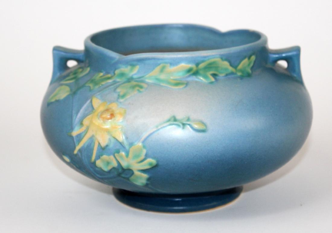Roseville pottery vase Blue Columbine jardiniere - 2