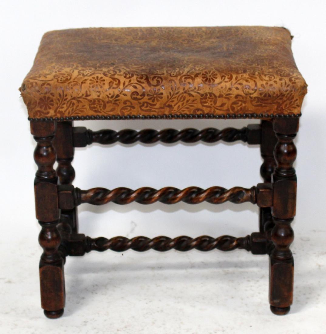 Antique English barley twist footstool