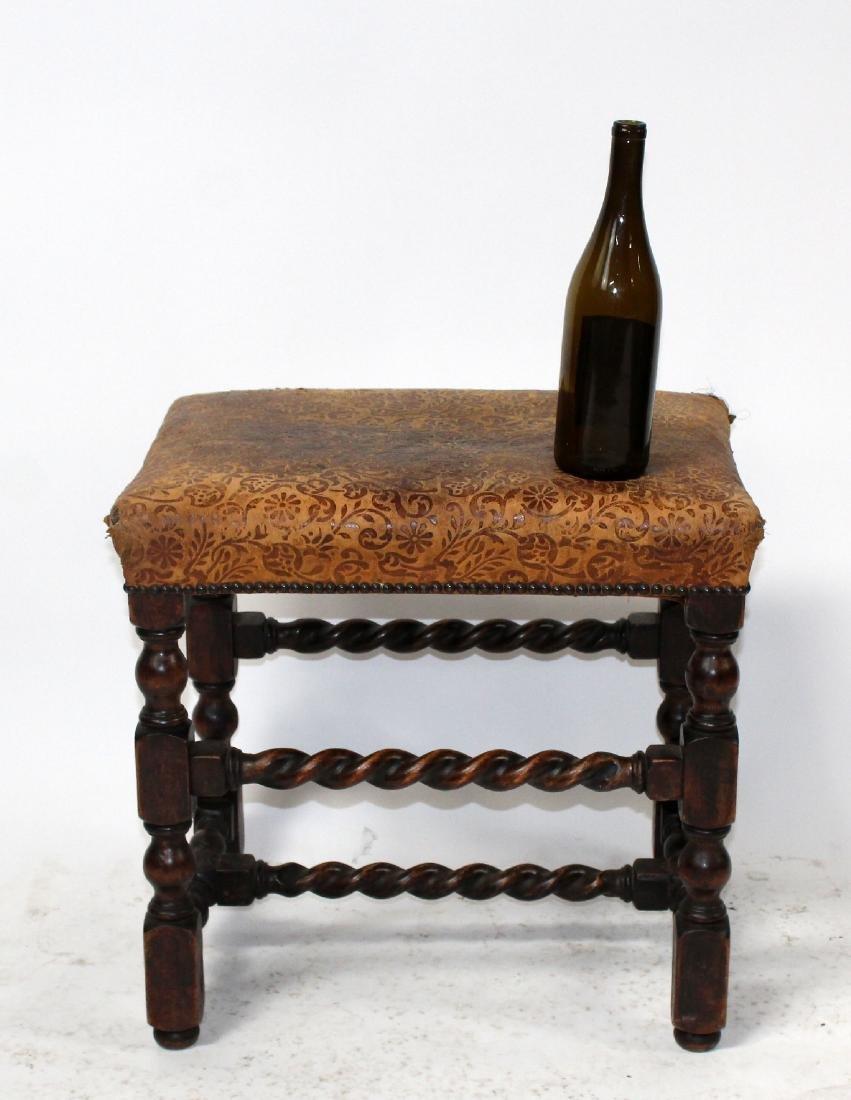 Antique English barley twist footstool - 2