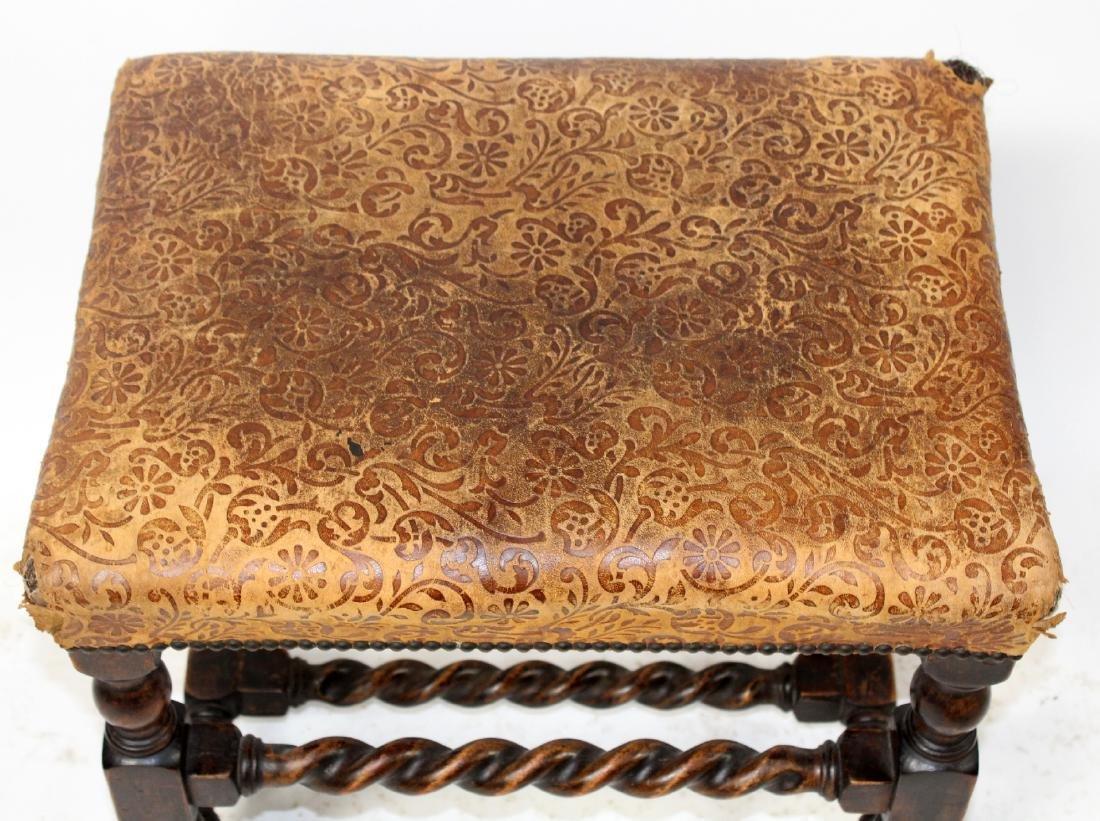 Antique English barley twist footstool - 3