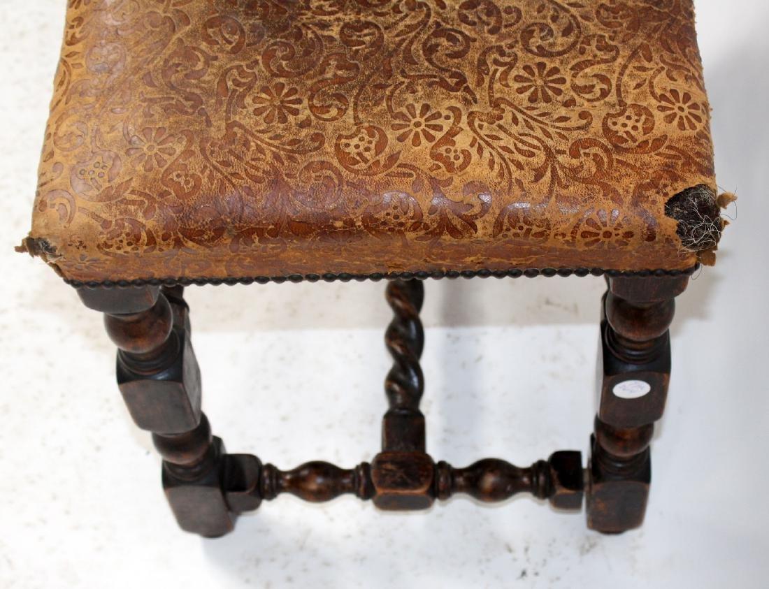 Antique English barley twist footstool - 4