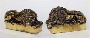 Pair of brass desk top Canova lions