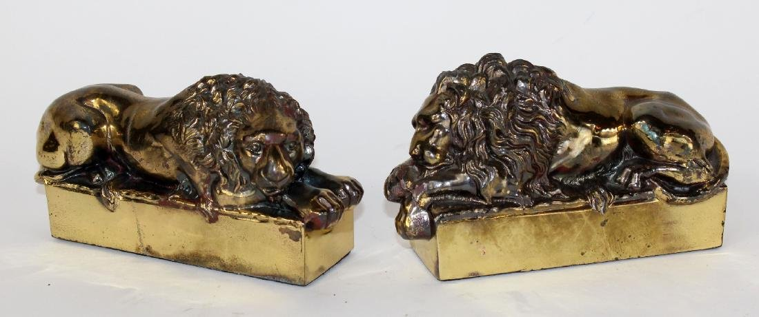 Pair of brass desk top Canova lions
