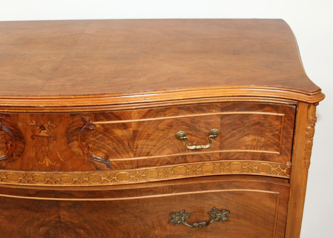Burl walnut serpentine front chest of drawers - 4