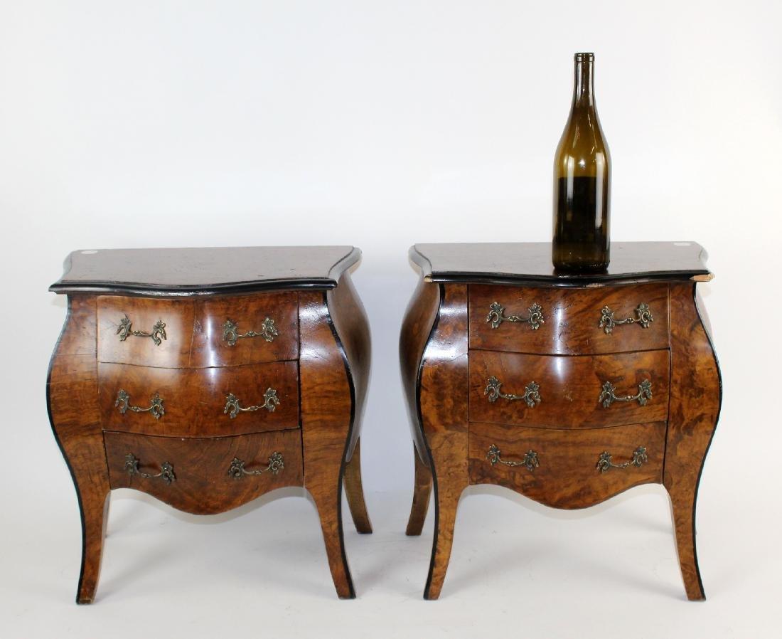 Pair Italian miniature bombe chest of drawers - 7
