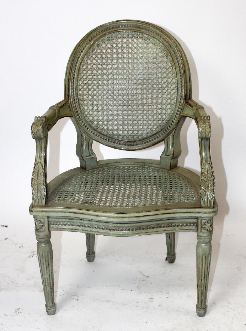 Louis XVI style painted & cane child's chair