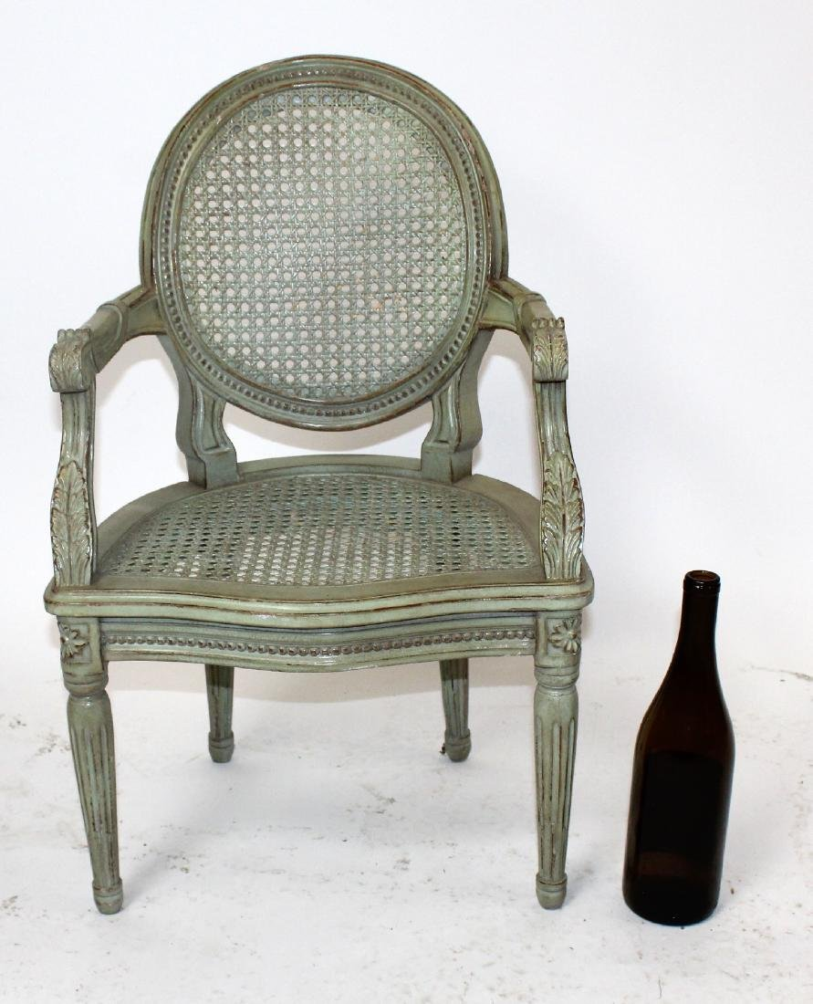 Louis XVI style painted & cane child's chair - 2