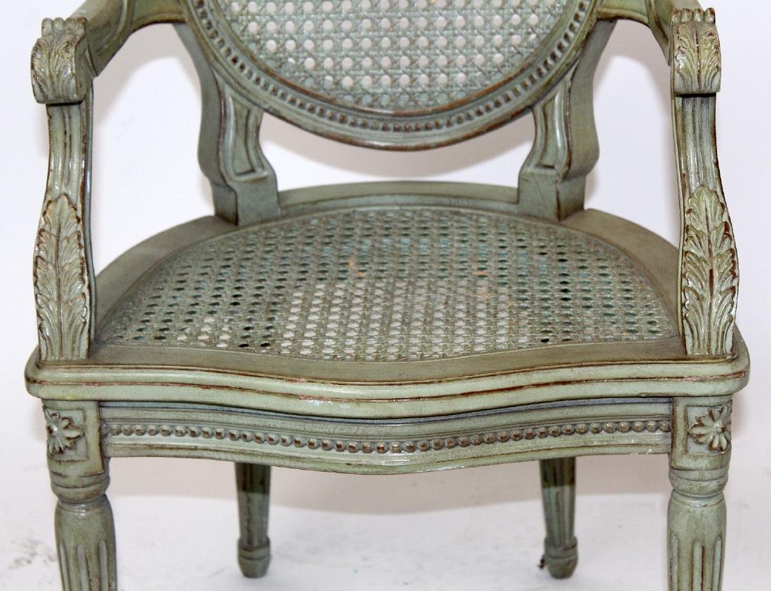 Louis XVI style painted & cane child's chair - 3