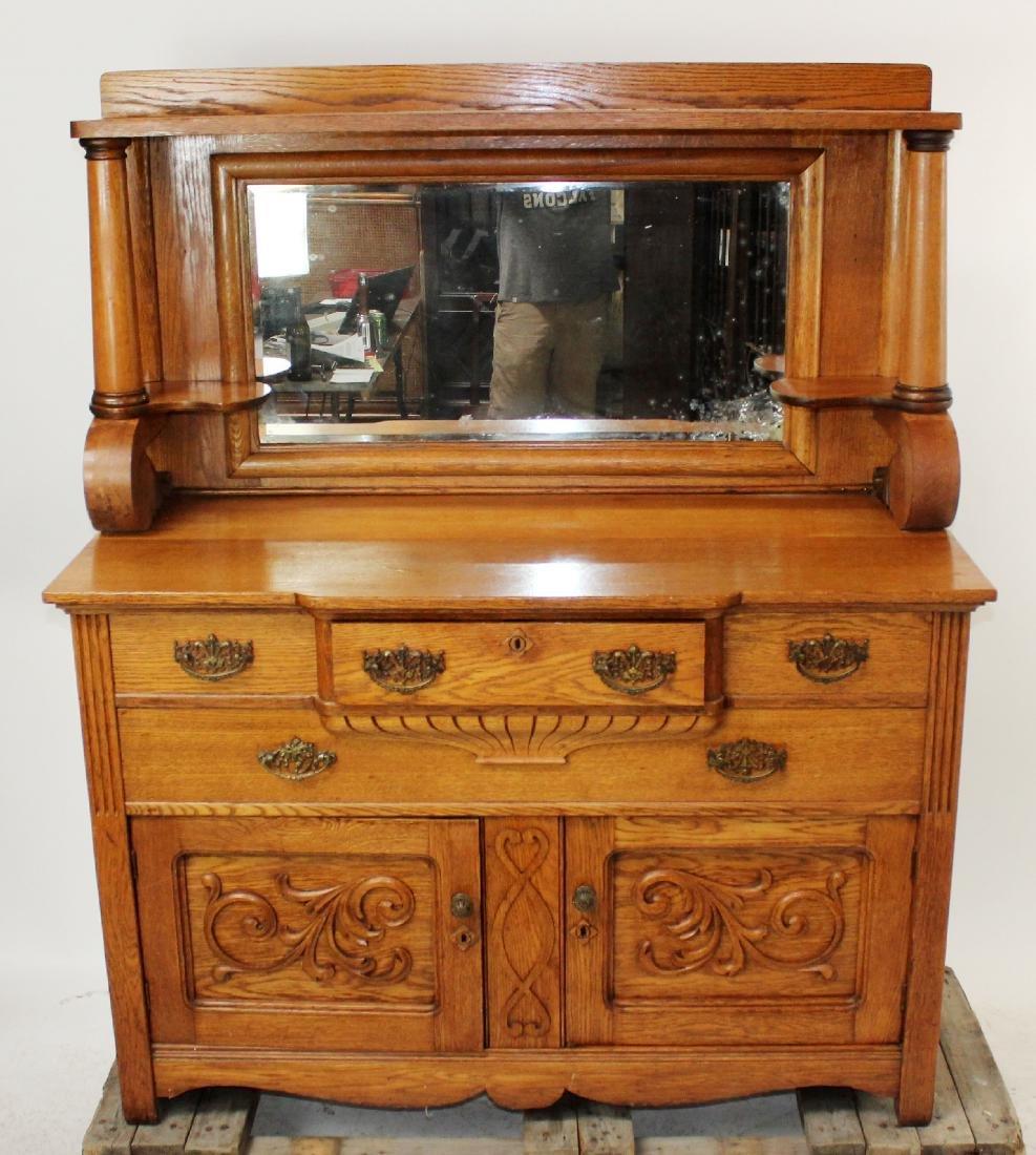 American oak mirror back sideboard