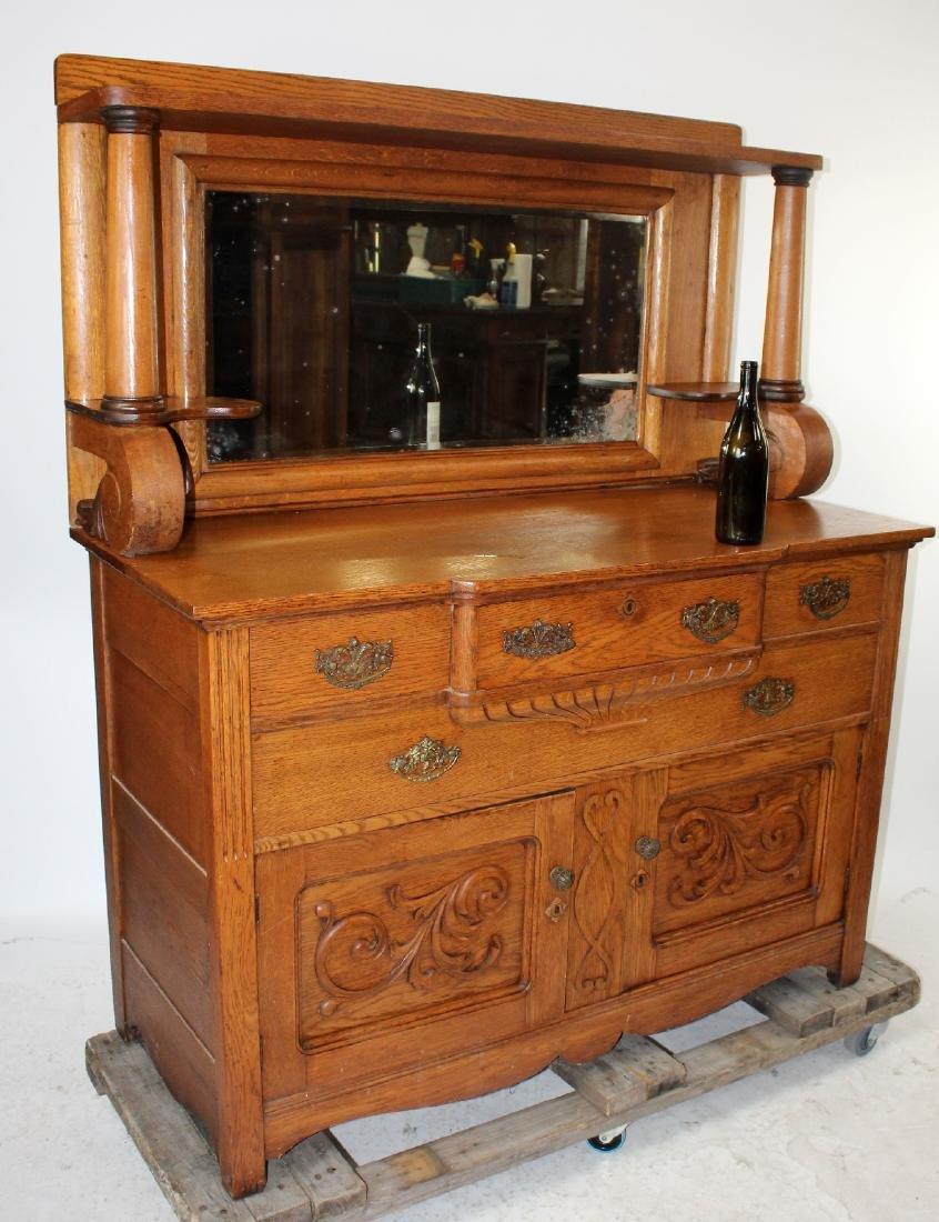American oak mirror back sideboard - 2