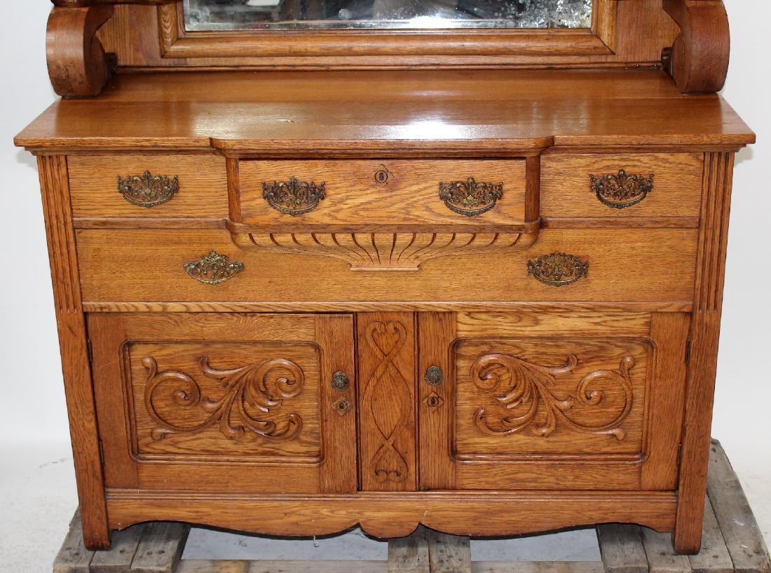 American oak mirror back sideboard - 3