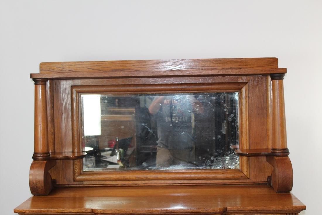 American oak mirror back sideboard - 4