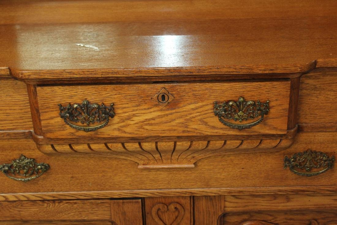 American oak mirror back sideboard - 6