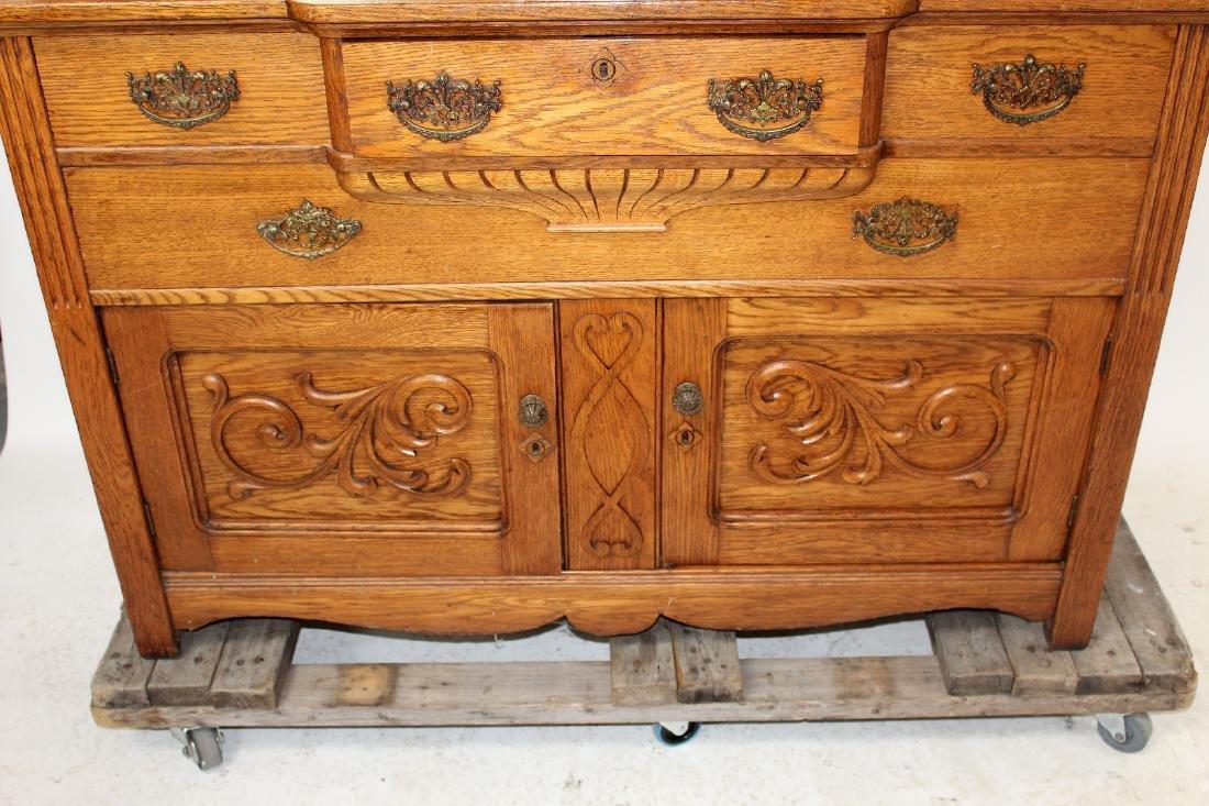 American oak mirror back sideboard - 7