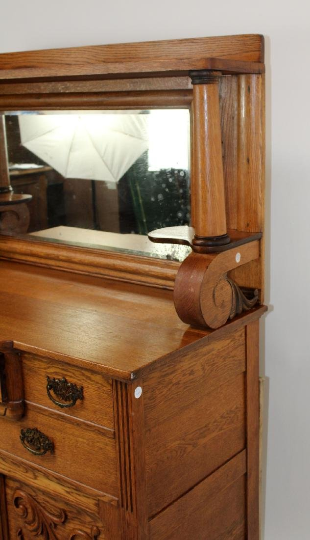 American oak mirror back sideboard - 8