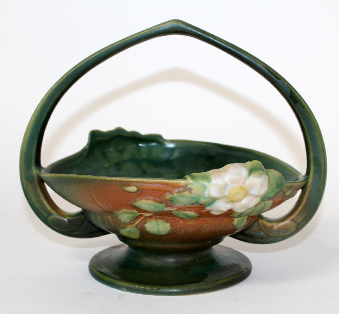 Roseville pottery white rose handled basket - 2