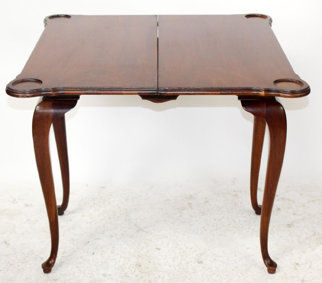 Mahogany console game table with shell carving - 5