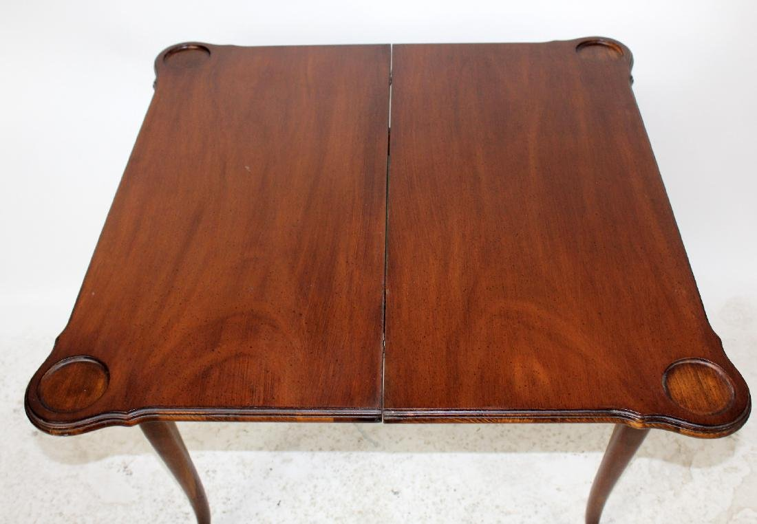 Mahogany console game table with shell carving - 6